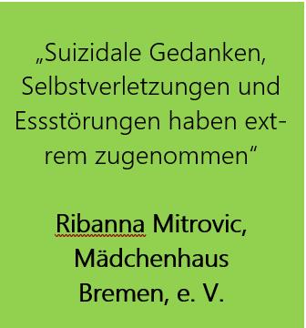 """Grüner Hintergrund mit Zitat: """"Suizidale Gedanken, Selbstverletzungen und  Essstörungen haben ext-rem zugenommen""""  Ribanna Mitrovic,  Mädchenhaus  Bremen, e. V."""