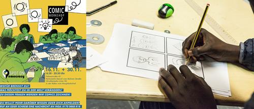 Flyer und Foto vom Comicworkshop