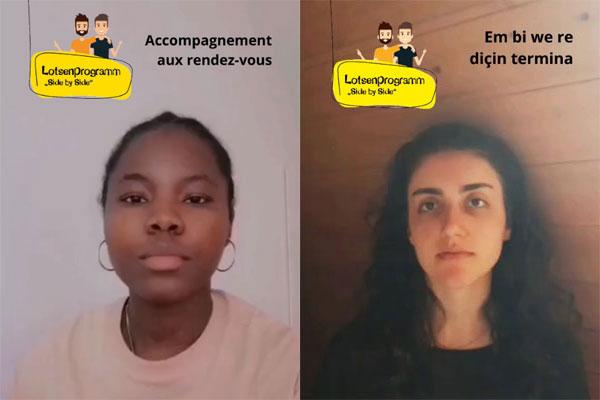 Startbilder der beiden Videos: jeweils eine junge Frau