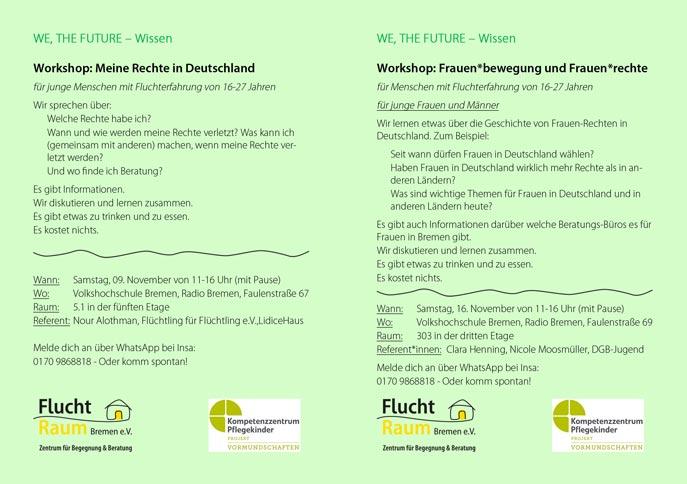 Flyer Workshops WE, THE FUTURE - Wissen