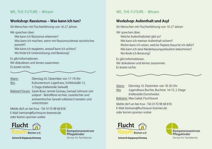 Flyer Workshops WE, THE FUTURE - Wissen Dezember