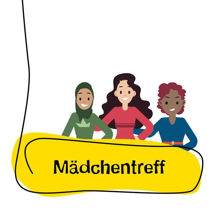 Grafik mit 3 Mädchen und Schriftzug