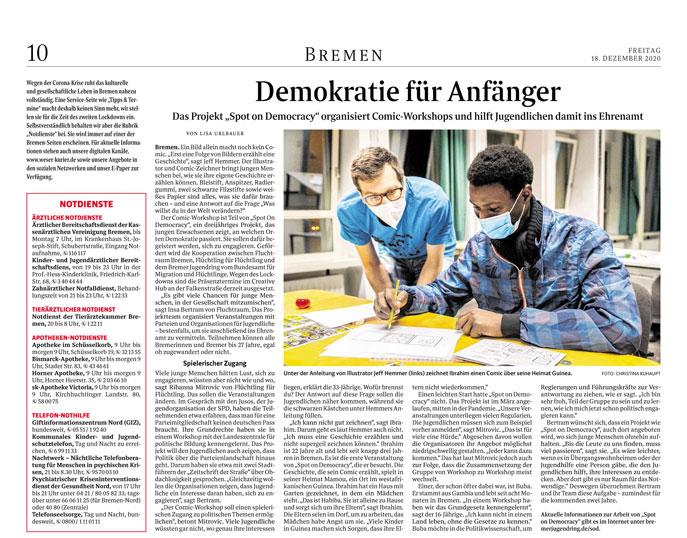 Bericht im Weser Kurier